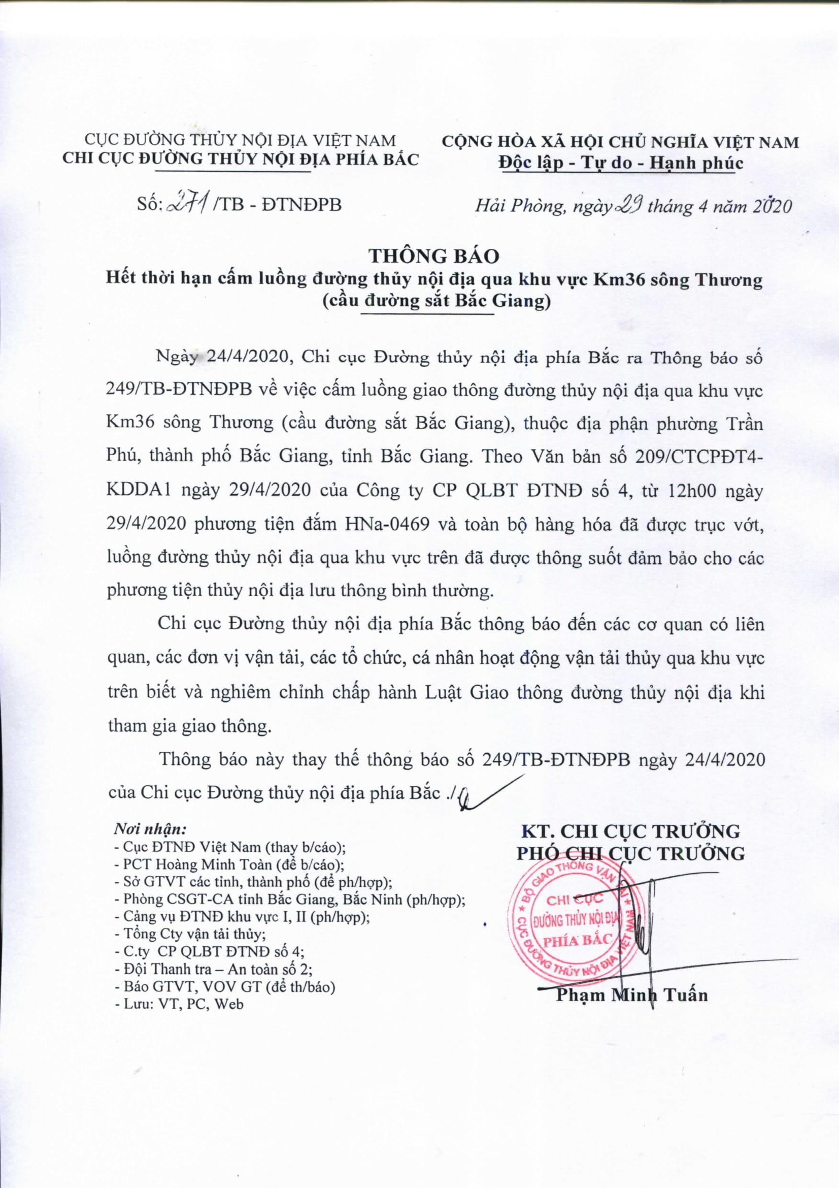 THÔNG BÁO: Hết thời hạn cấm lường đường thủy nội địa qua khu vực Km36 sông Thương(cầu đường sắt Bắc Giang)