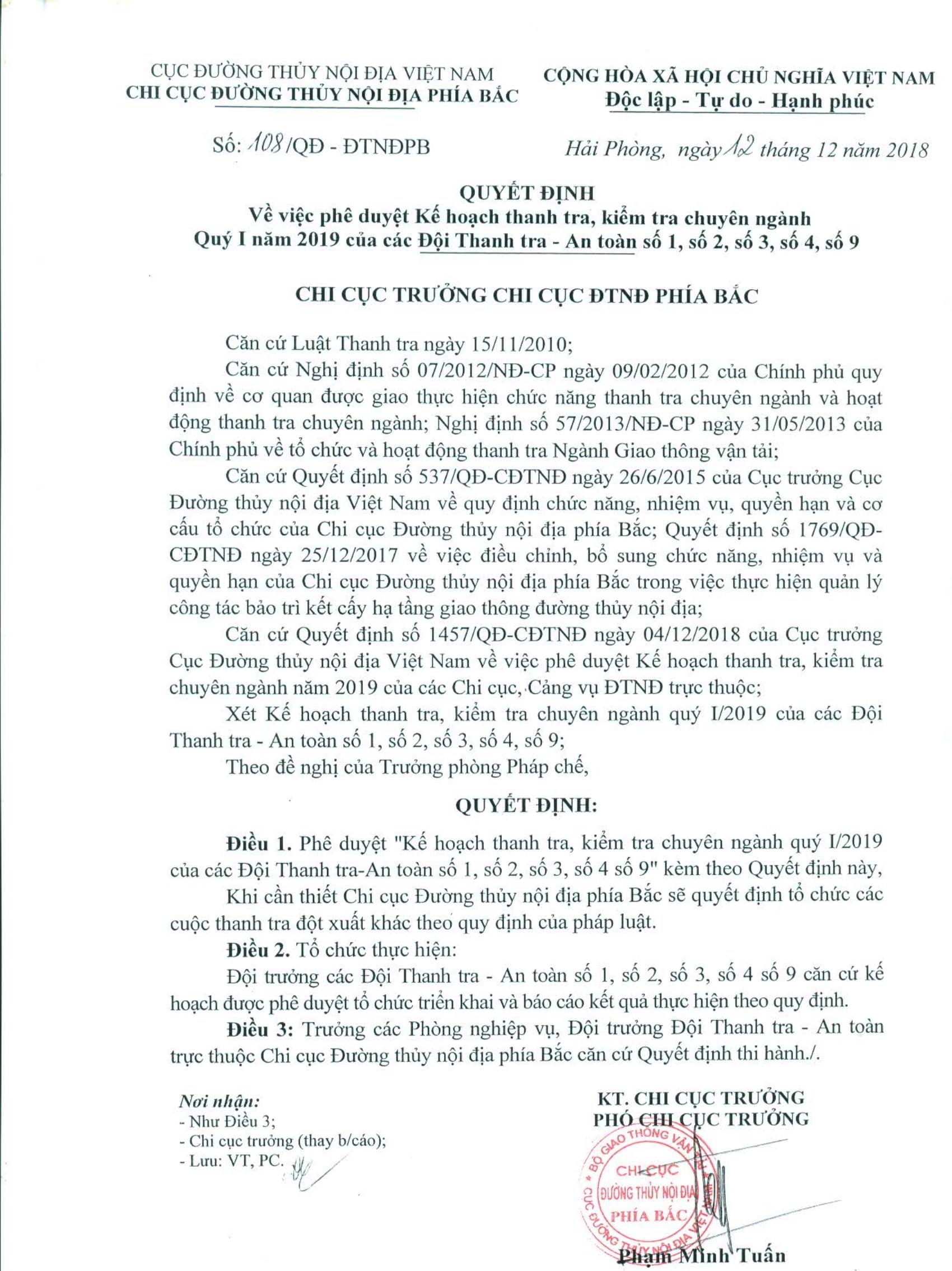 Quyết Định 108 phê duyệt Kế hoạch thanh tra Quý I.2019-01