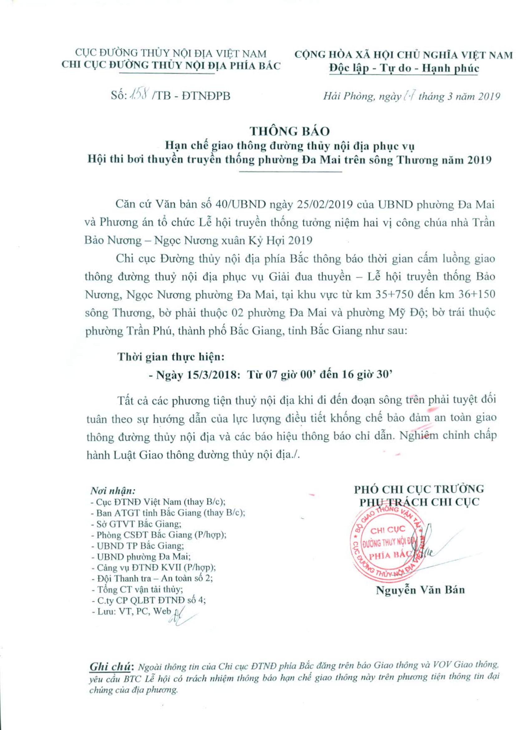 Thông báo HCGT ĐTNĐ (km 35+750 đến km 36+150 sông Thương) phục vụ Giải đua thuyền. thành phố Bắc Giang