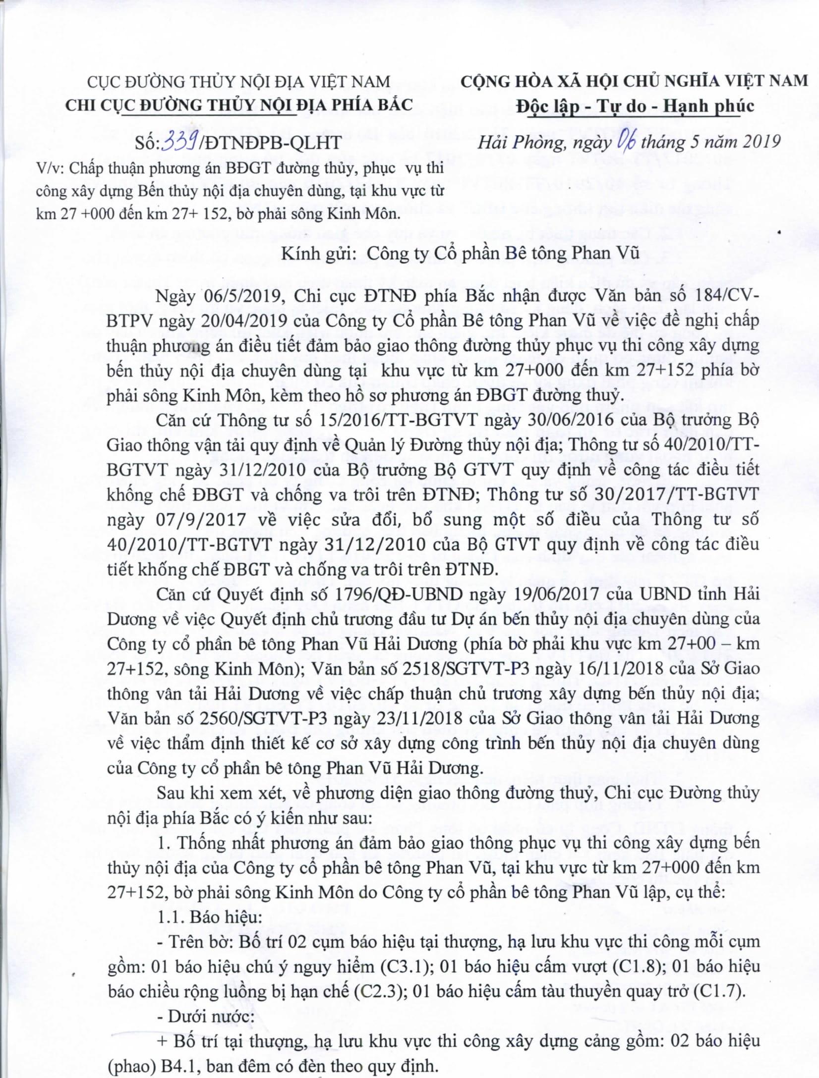 Chấp thuận PA điều tiết bảo đảm GTĐT phục vụ thi công xây dựng Bến thủy nội địa chuyên dùng, tại khu vực từ km 27 +000 đến km 27 +152, bờ phải sông Kinh Môn