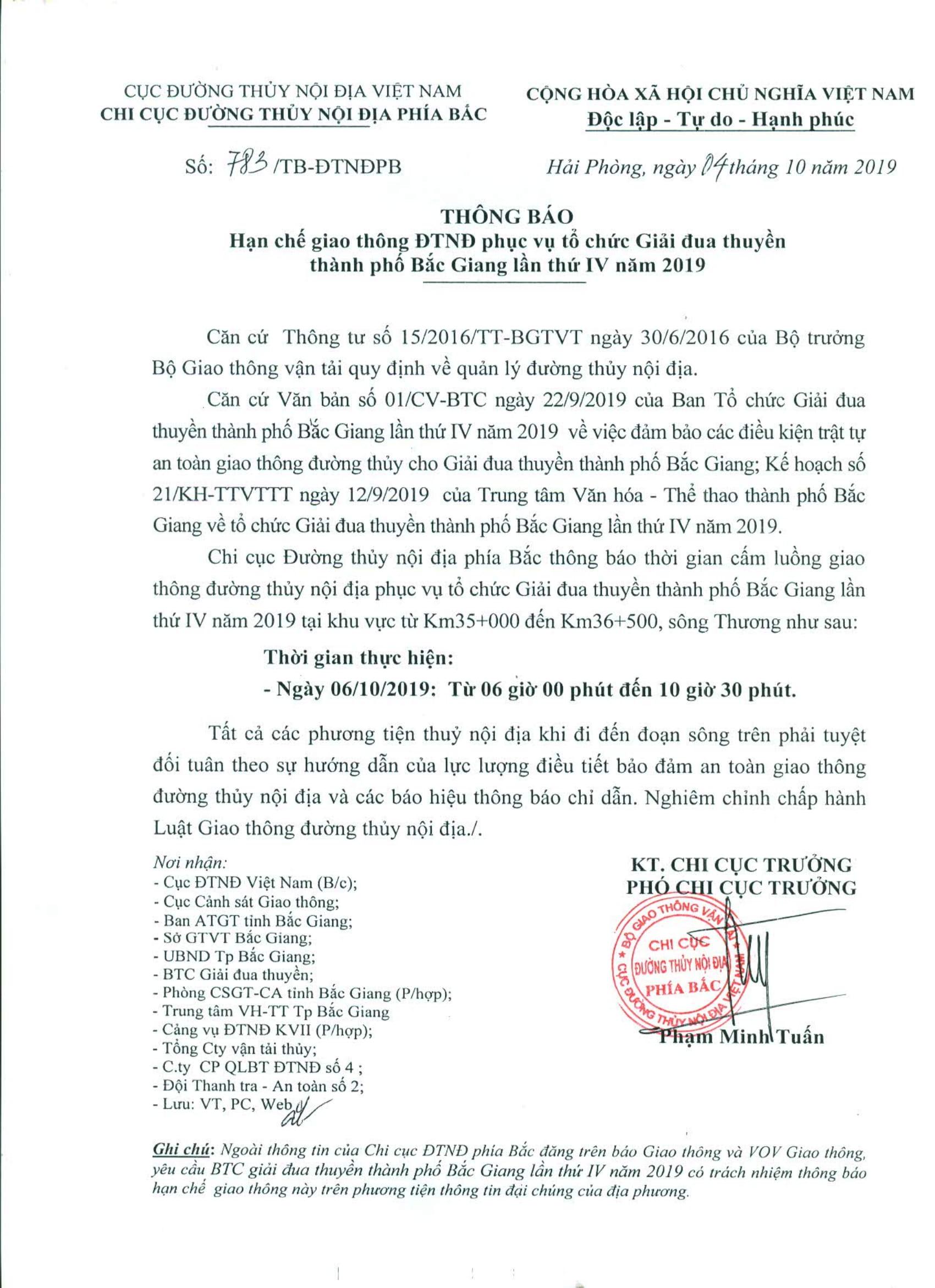 Thông báo HCGT ĐTNĐ phục vụ tổ chức Giải đua thuyền thành phố Bắc Giang lần thứ IV năm 2019