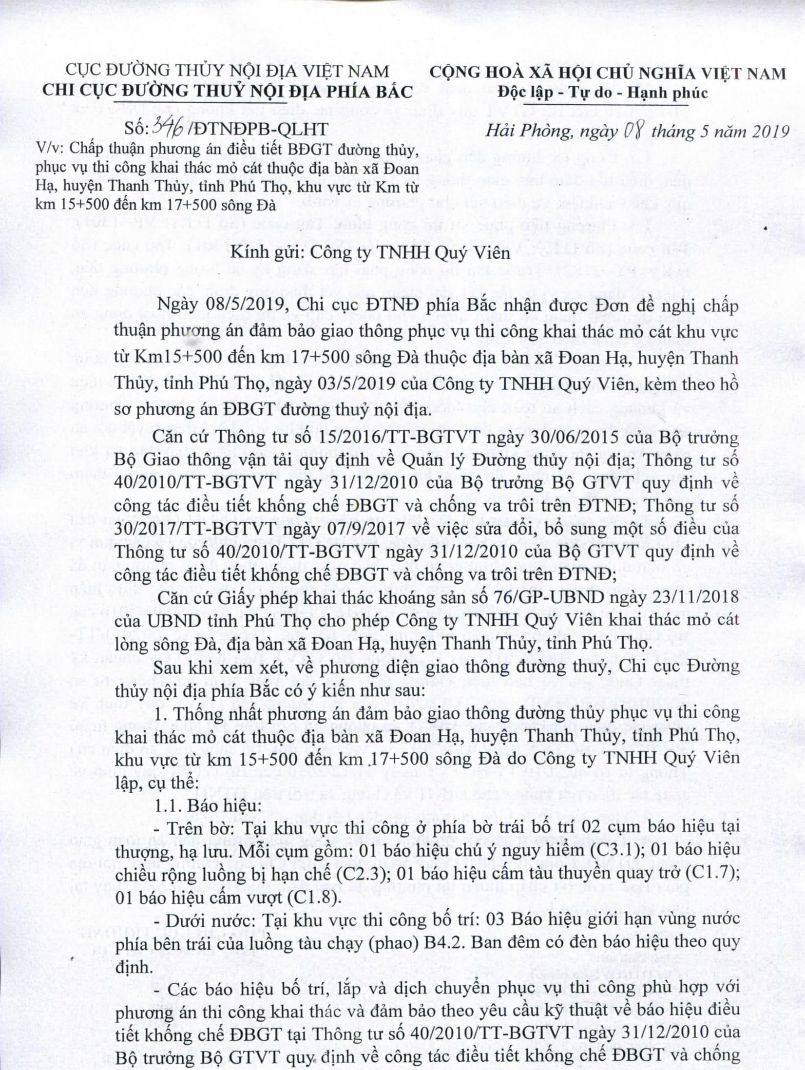 Chấp thuận PA điều tiết bảo đảm GTĐT phục vụ thi công khai thác mỏ cát thuộc địa bàn xã Đoan Hạ, huyện Thanh Thủy, tỉnh Phú Thọ