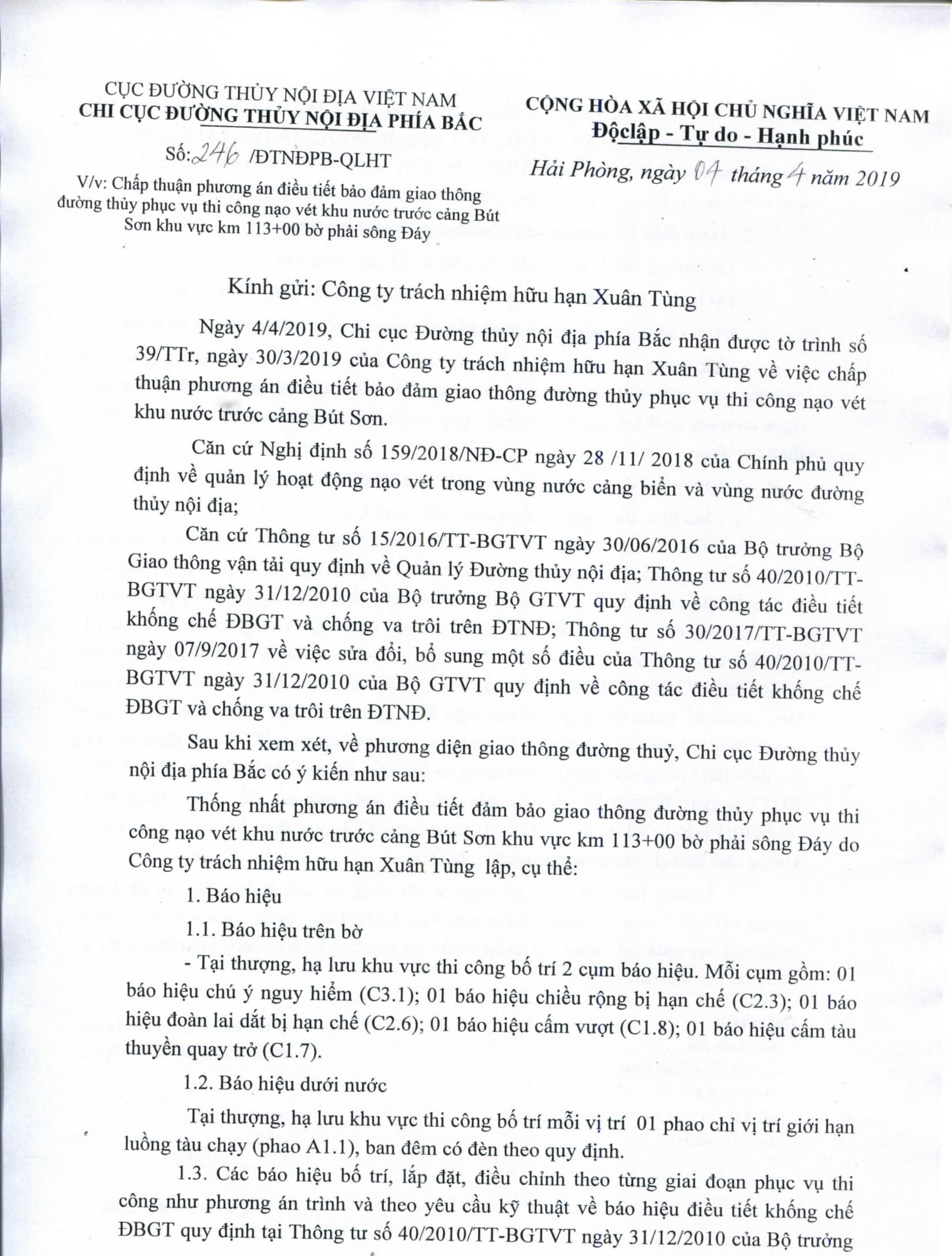Chấp thuận PA điều tiết bảo đảm GTĐT phục vụ nạo vét khu nước trước cảng Bút Sơn khu vực km 113+000 bờ phải sông Đáy