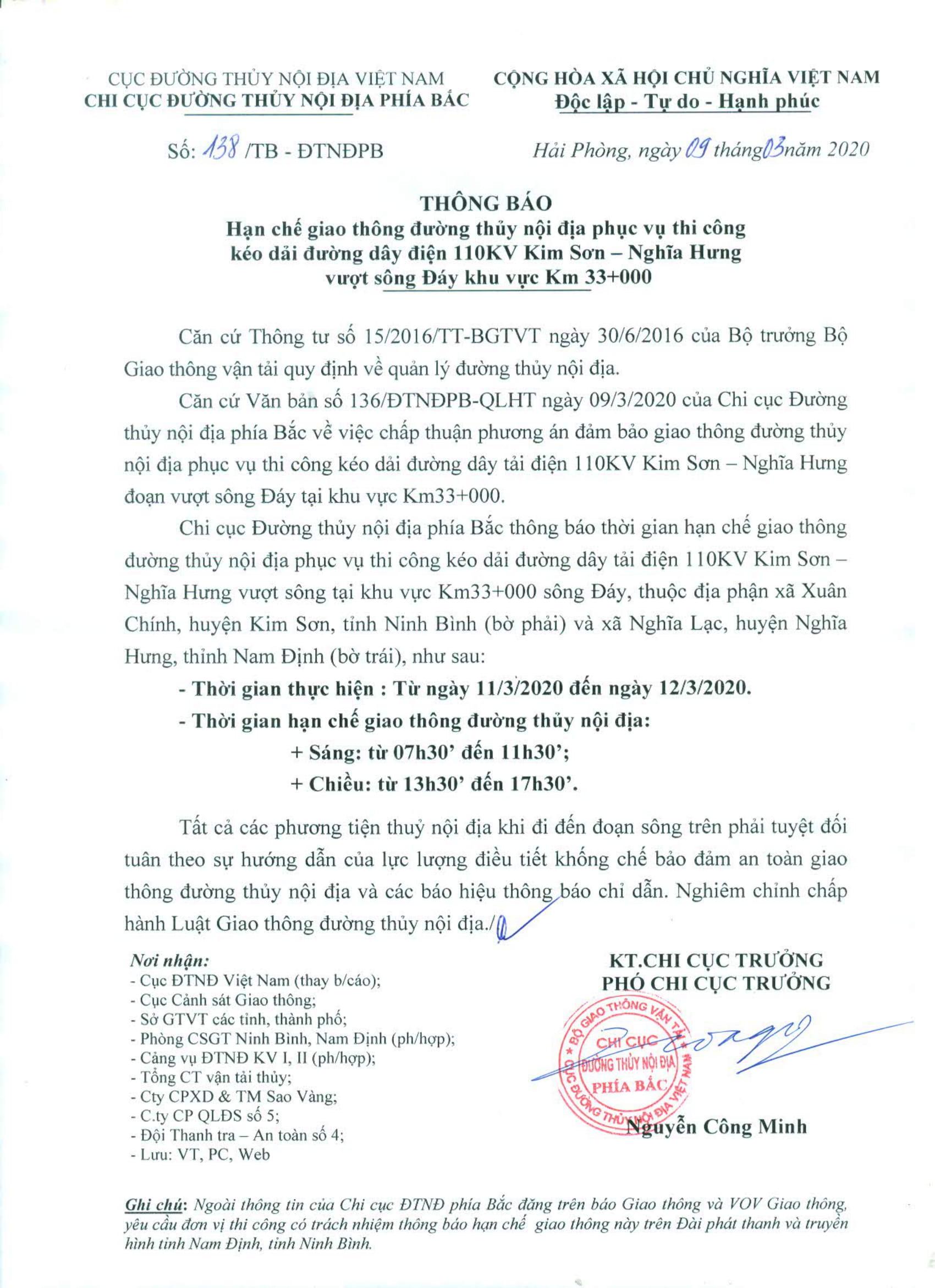 Thông báo HCGT ĐTNĐ phục vụ thi công kéo dải đường dây điện 110KV Kim Sơn - Nghĩa Hưng vượt sông Đáy khu vực Km 33+000