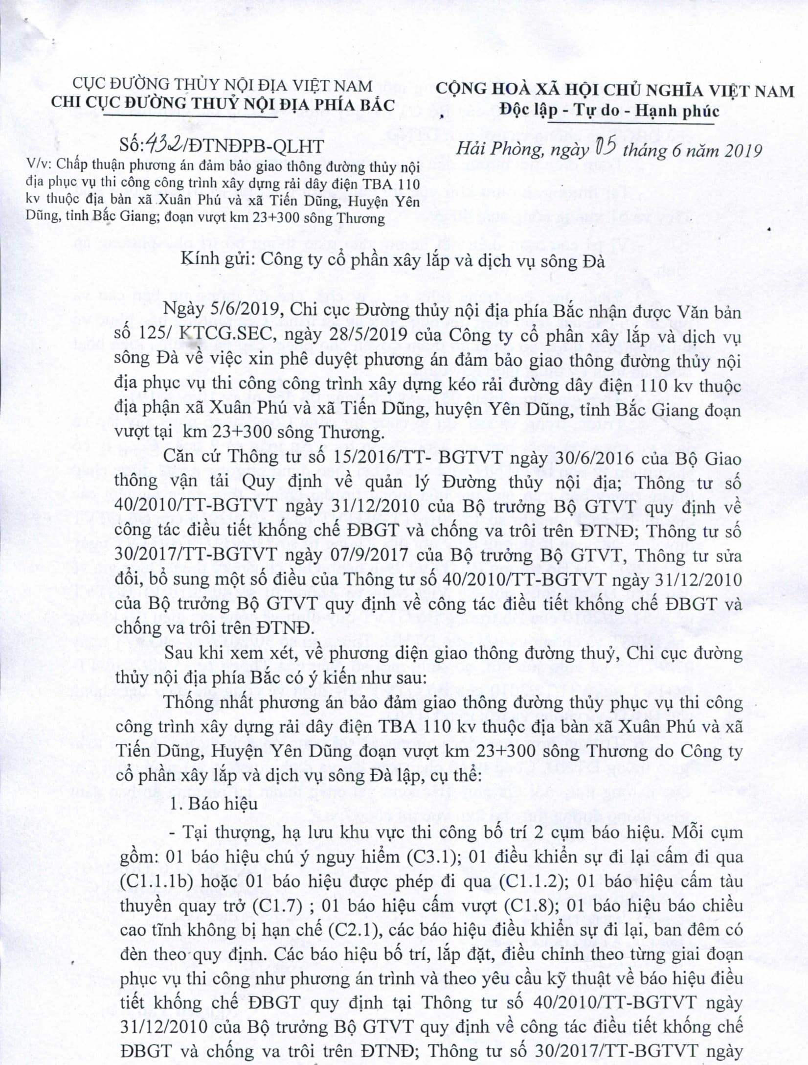 Chấp thuận PA điều tiết bảo đảm GTĐT phục vụ thi công xây dựng rải dây điện TBA 110 kv thuộc địa bàn xã Xuân Phú, Yên Dũng, Bắc Giang.