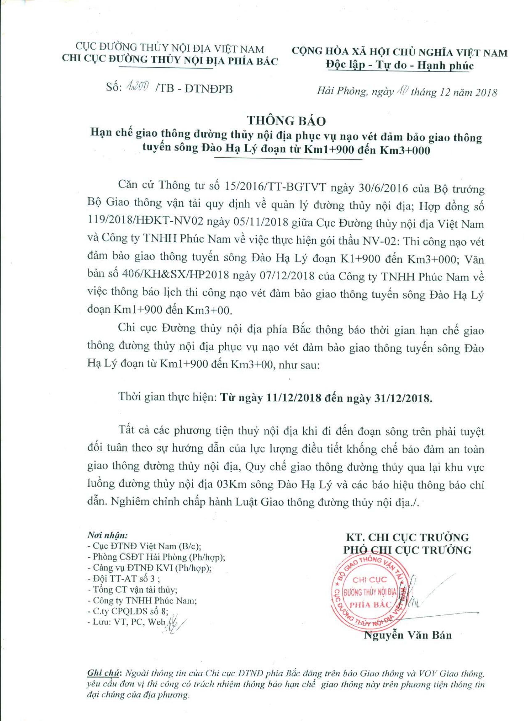Thông báo HCGT ĐTNĐ khu vực nạo vét đoạn km 1+900 đến km 3+000 sông Đào Hạ Lý