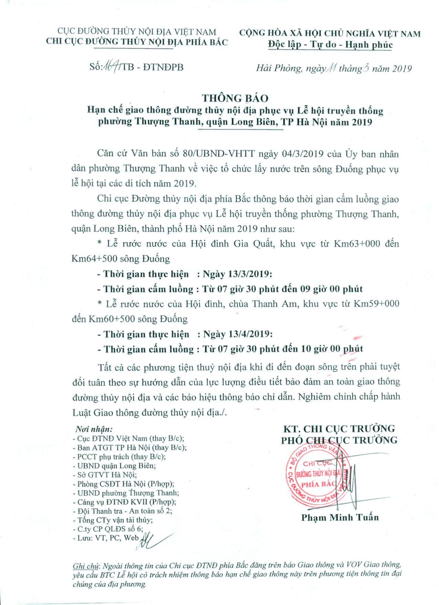 Thông báo HCGT ĐTNĐ KV km 63+000 đến km 64+500 sông Đuống (ngày 13/3/2019) và KV km 59+000 đến km 60+500 (ngày 13/4/2019), phục vụ lế hội truyền thống phường Thượng Thanh, Long Biên, Hà Nội