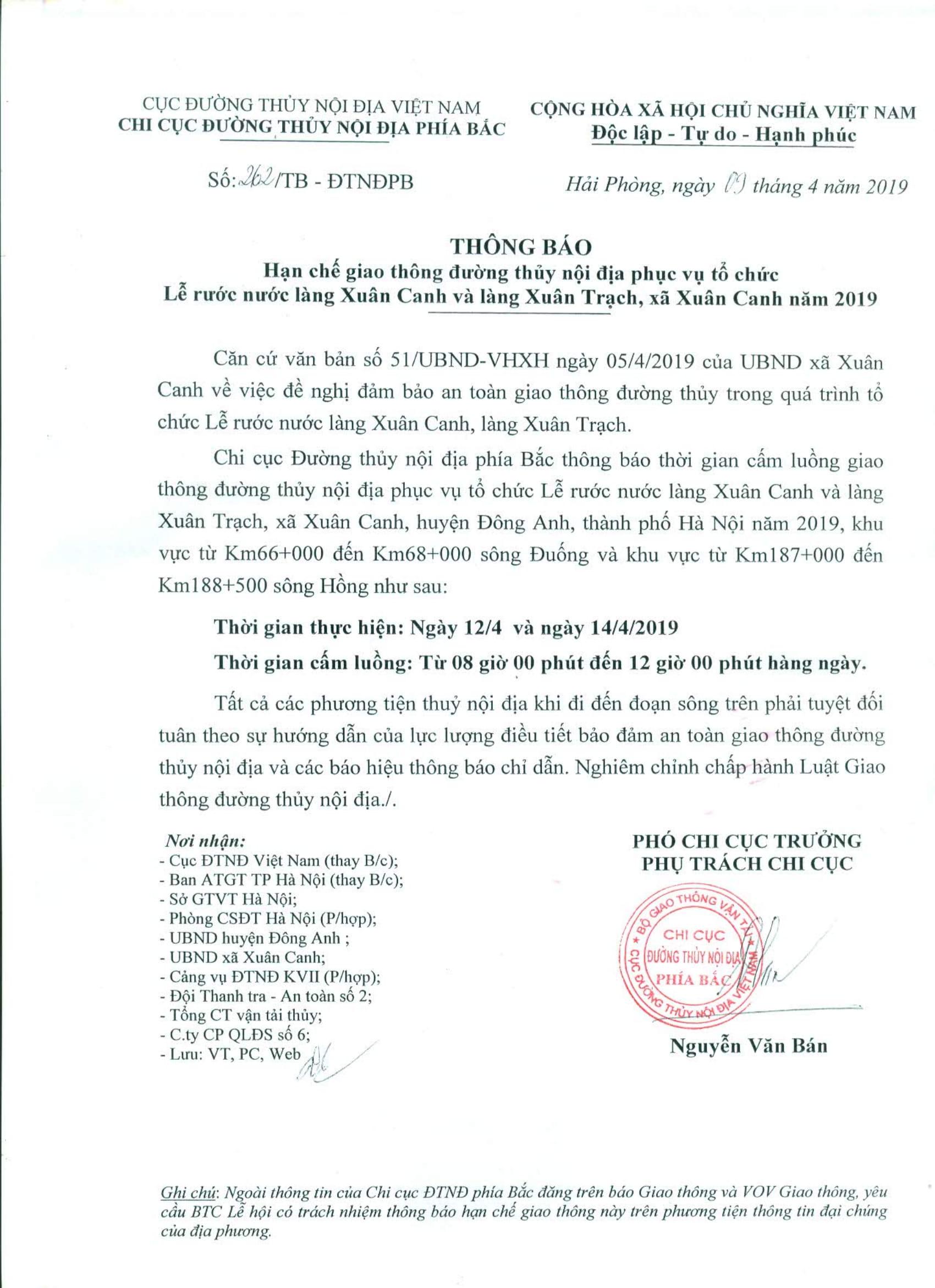 Thông báo HCGT ĐTNĐ phục vụ tổ chức Lễ rước nước làng Xuân Canh và làng Xuân Trạch, xã Xuân Canh năm 2019