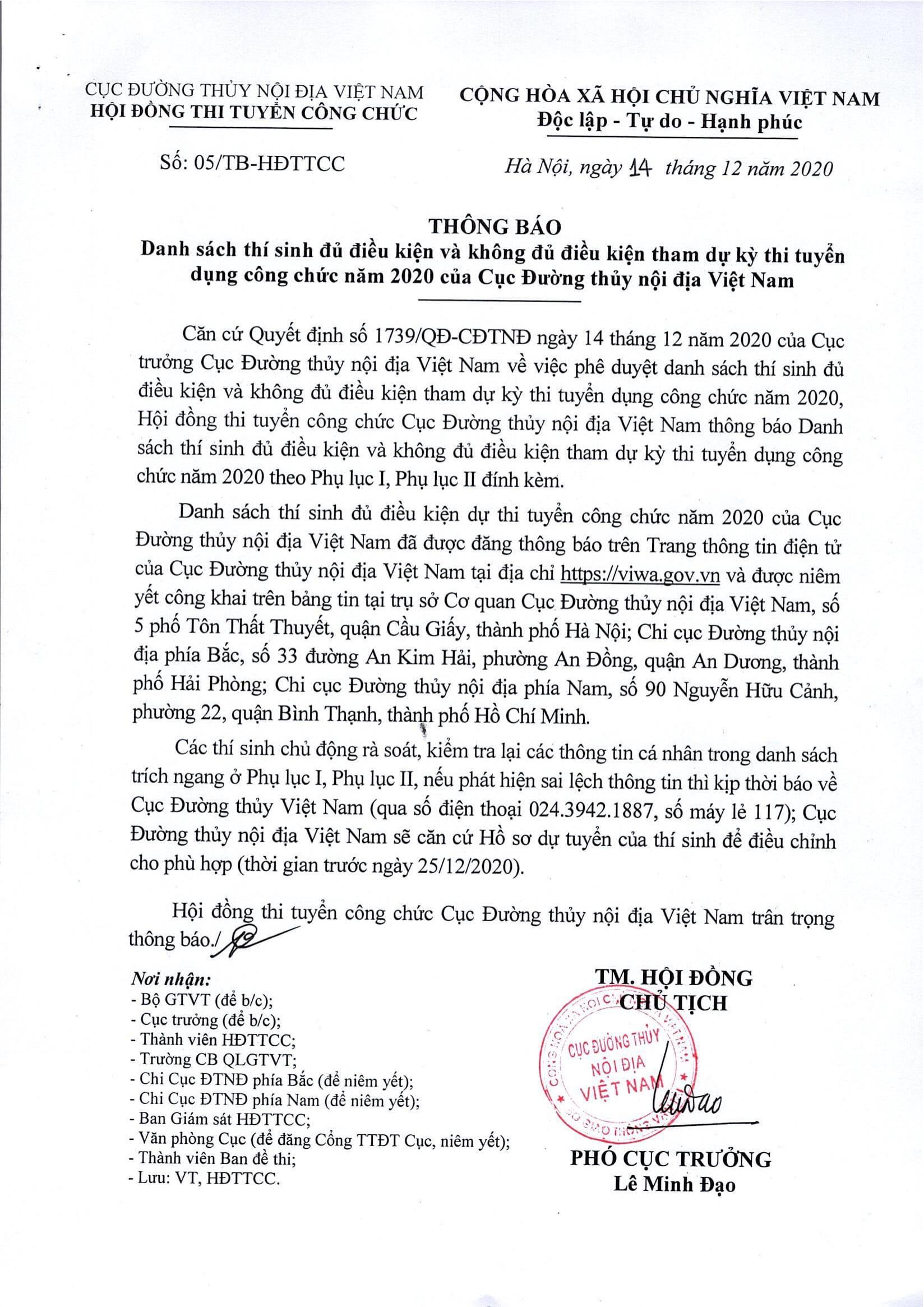 THÔNG BÁO: Danh sách thí sinh đủ điều kiện và không đủ điều kiện tham dự kỳ thi tuyển dụng công chức năm 2020 của Cục Đường thủy nội địa Việt Nam