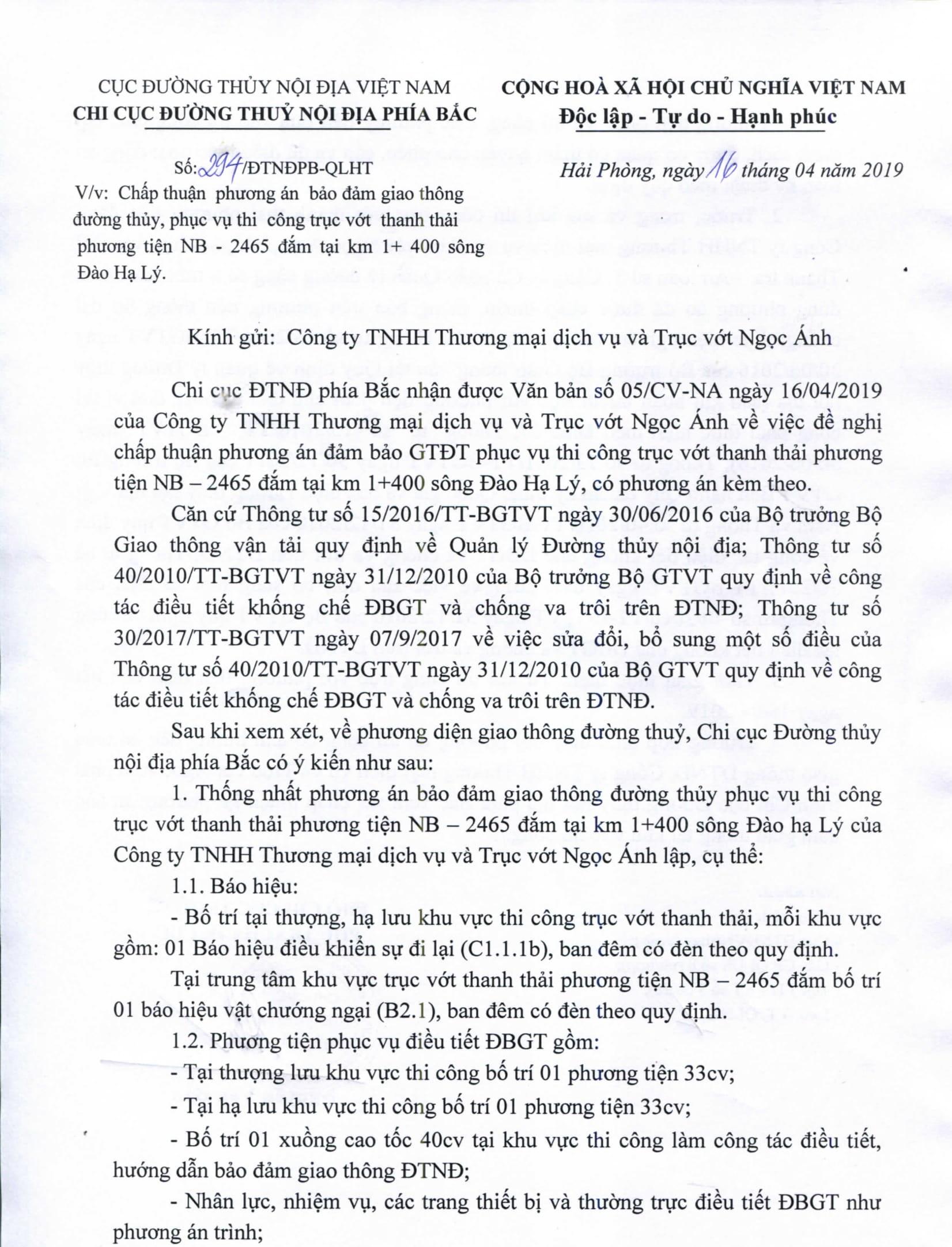 Chấp thuận PA điều tiết bảo đảm GTĐT phục vụ thi công trục vớt thanh thải phương tiện NB-2465 đắm tại km 1+400 sông Đào Hạ Lý