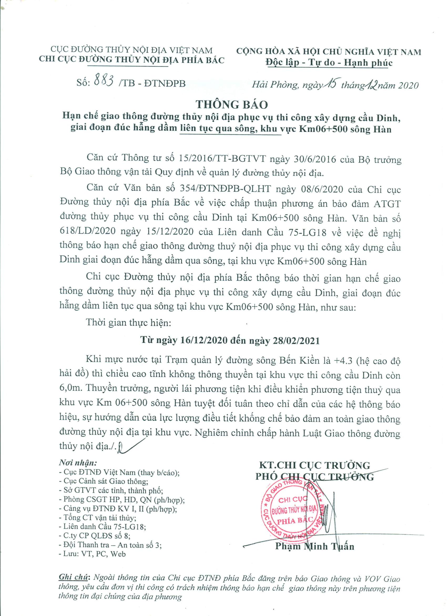 THÔNG BÁO: HCGT kéo điện 35KV quá sông Thái Bình