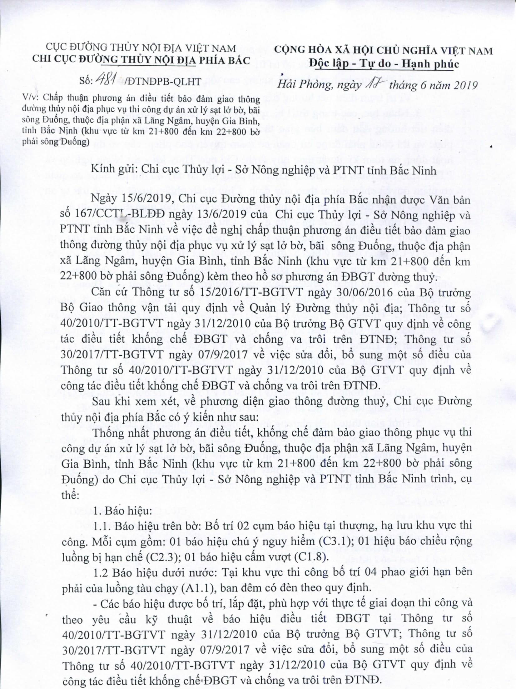 Chấp thuận PA điều tiết bảo đảm GTĐT phục vụ thi công dư án xử lý sạt lở bờ, bãi sông Đuống, thuộc địa phần xã Lãng Ngâm, huyện Gia Bình, tỉnh Bắc Ninh