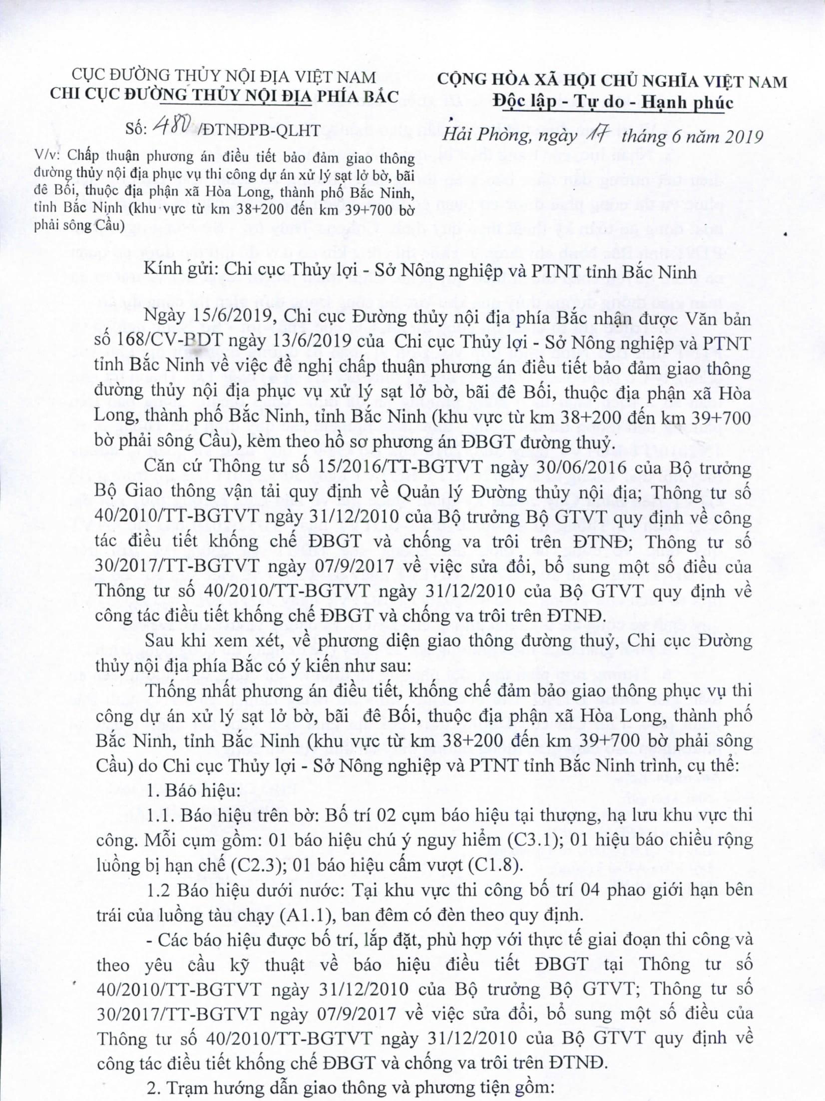 Chấp thuận PA điều tiết bảo đảm GTĐT phục vụ thi công dư án xử lý sạt lở bờ, bãi đê Bối, thuộc địa phần xã Hòa Long, thành phố Bắc Ninh, tỉnh Bắc Ninh