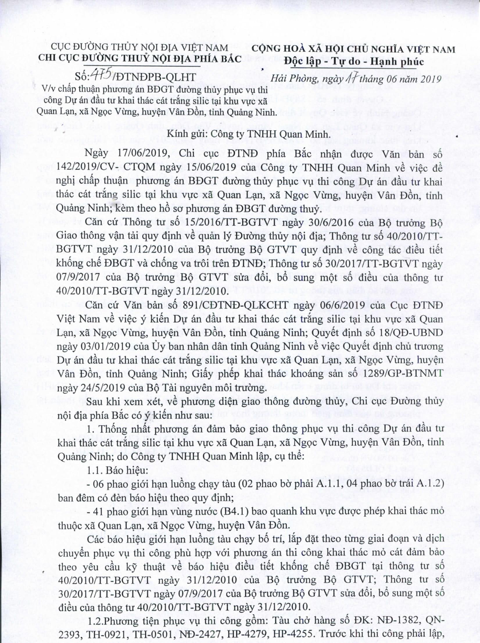 Chấp thuận PA điều tiết bảo đảm GTĐT phục vụ thi công dư án đầu tư khai thác cát trắng silic tại khu vực xã Quan Lạn, xã Ngọc Vừng, huyện Vân Đồn, tình Quảng Ninh