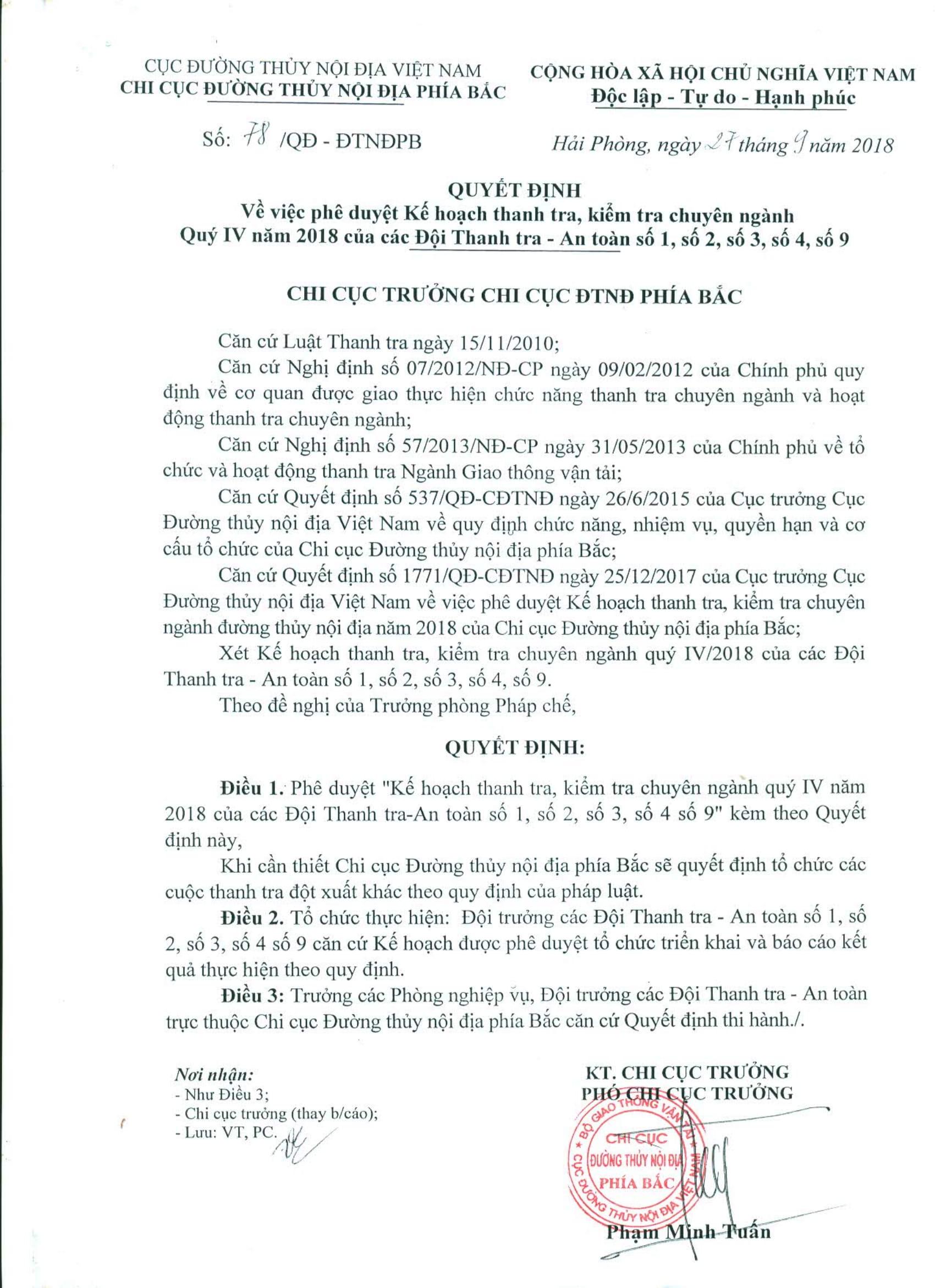 QĐ 78 Phê duyệt kế hoạch thanh tra Quý IV.2018
