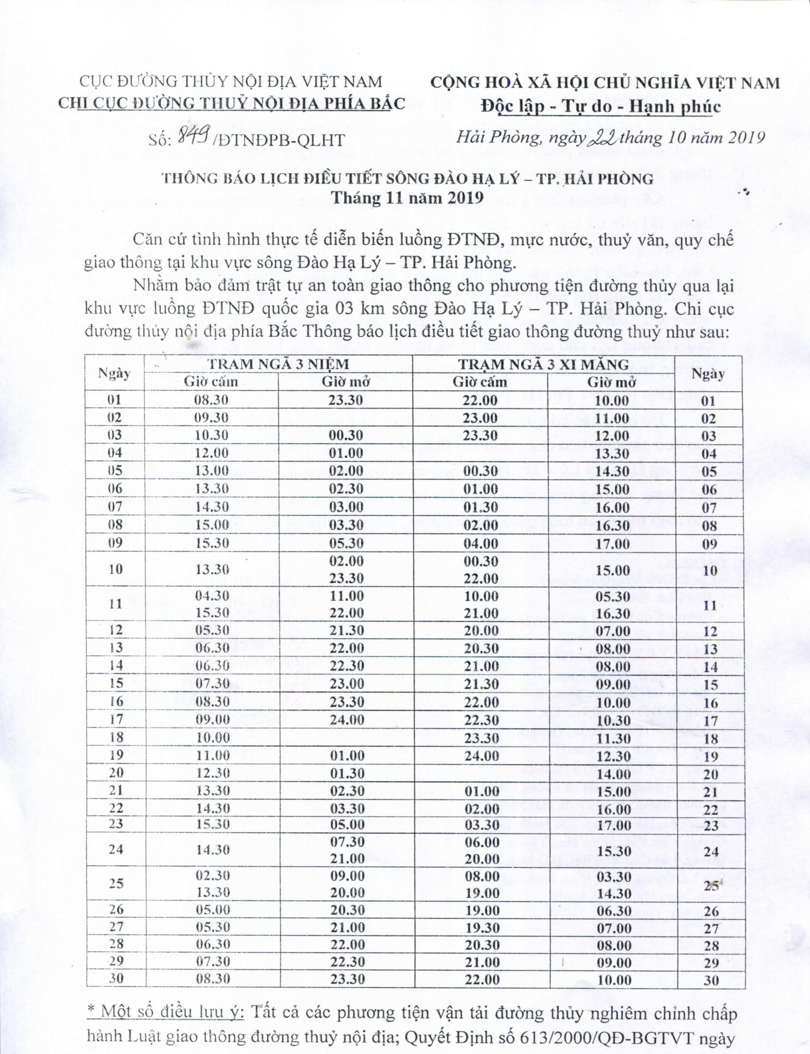 Thông báo lịch điều tiết sông Đào Hạ Lý - TP Hải Phòng tháng 11/2019