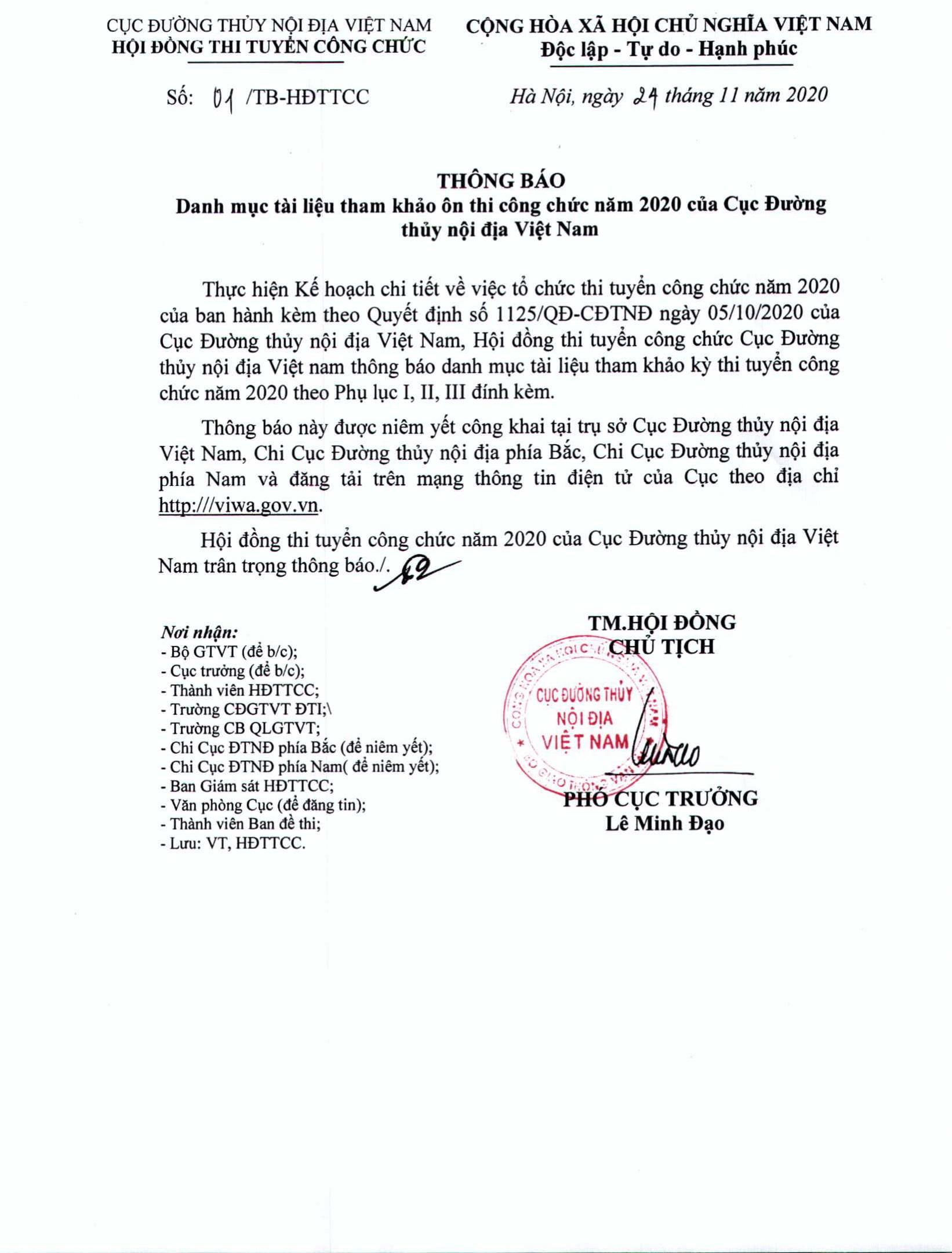 THÔNG BÁO Danh mục tài liệu tham khảo ôn thi công chức năm 2020 của Cục Đường thủy nội địa Việt Nam