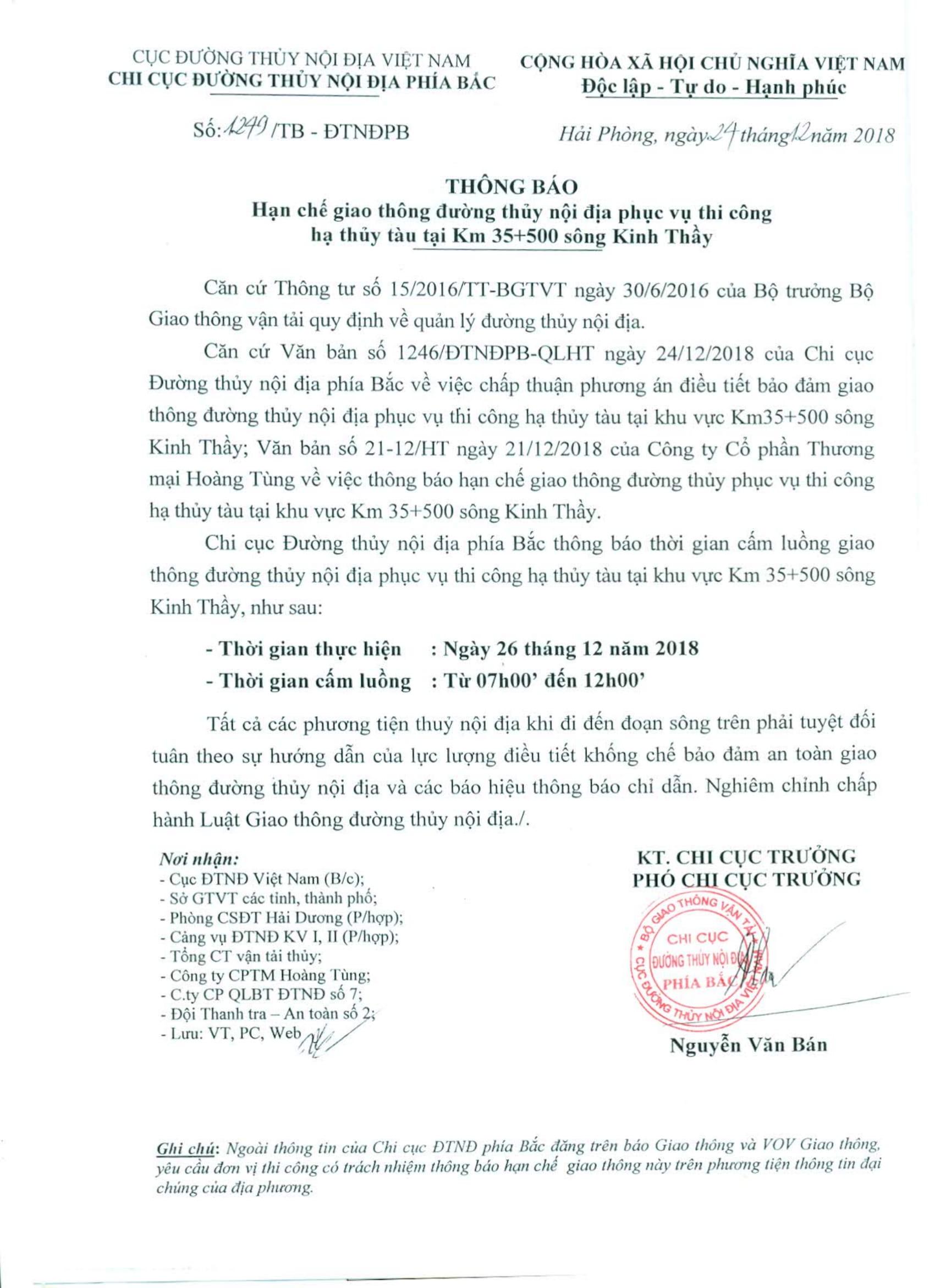 Thông báo HCGT ĐTNĐ phục vụ hạ thủy tàu qua sông Kinh Thầy