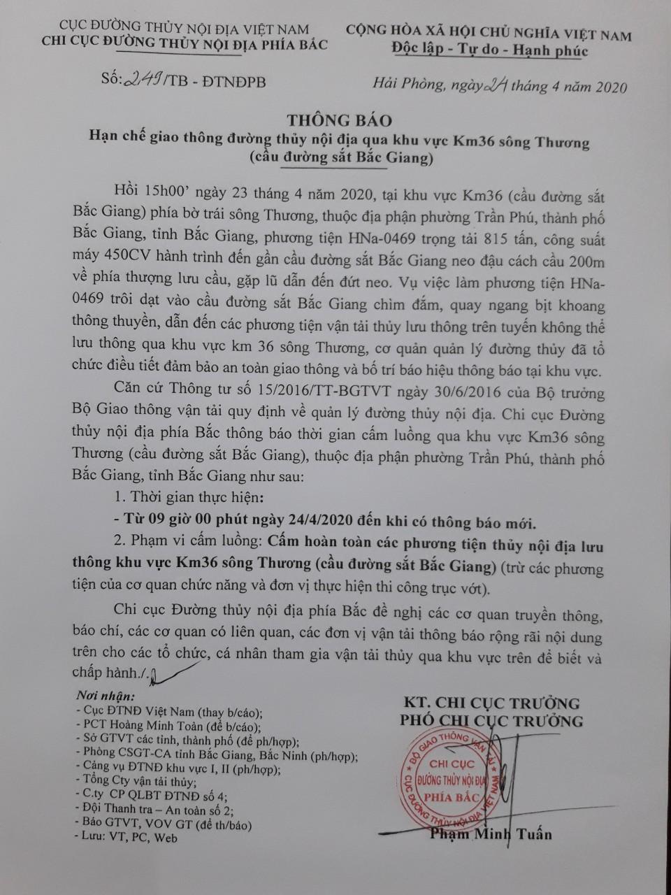 Thông báo HCGT ĐTNĐ qua khu vực Km36 sông Thương (cầu đường sắt Bắc Giang)