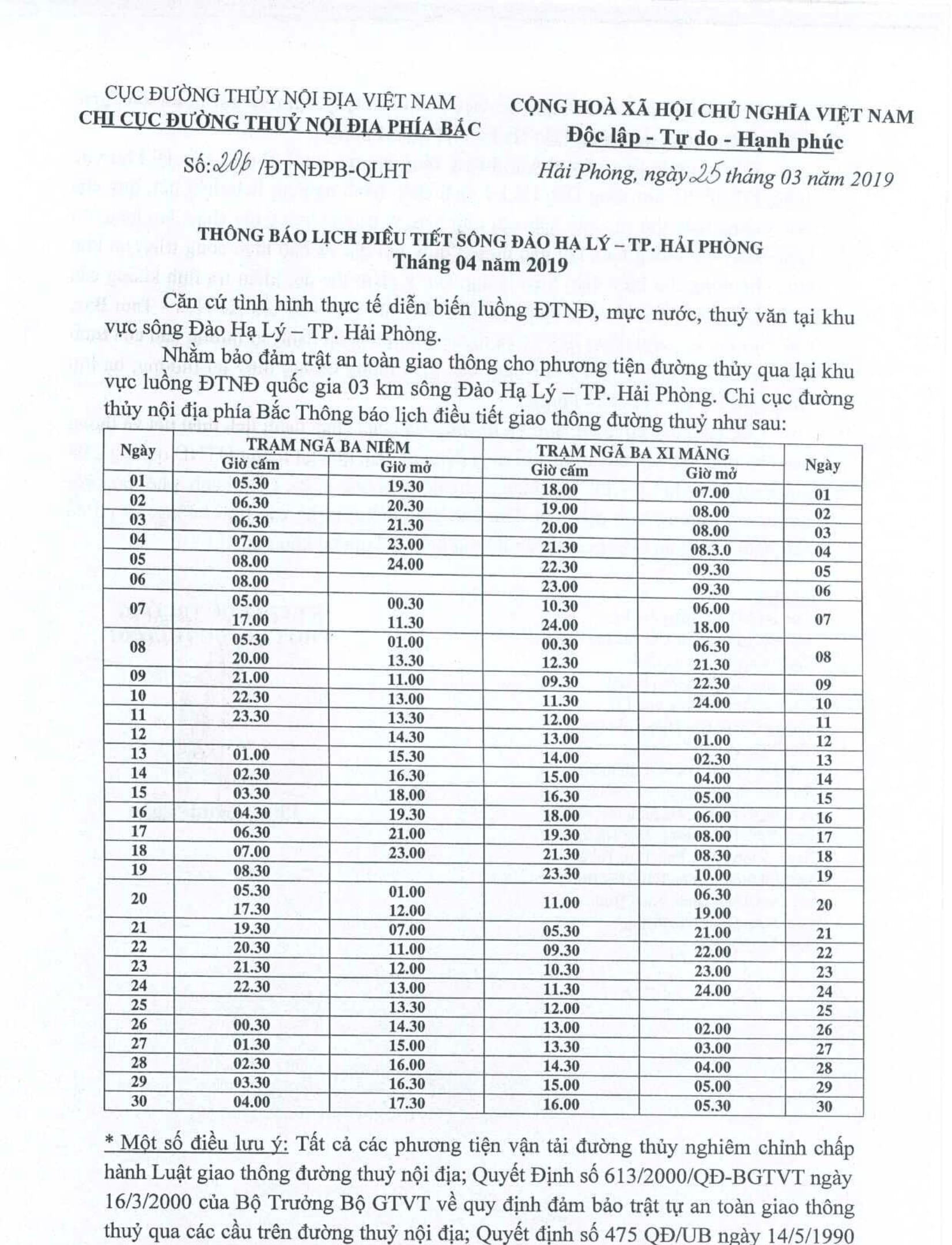 Thông báo lịch điều tiết sông Đào Hạ Lý - TP Hải Phòng tháng 04/2019