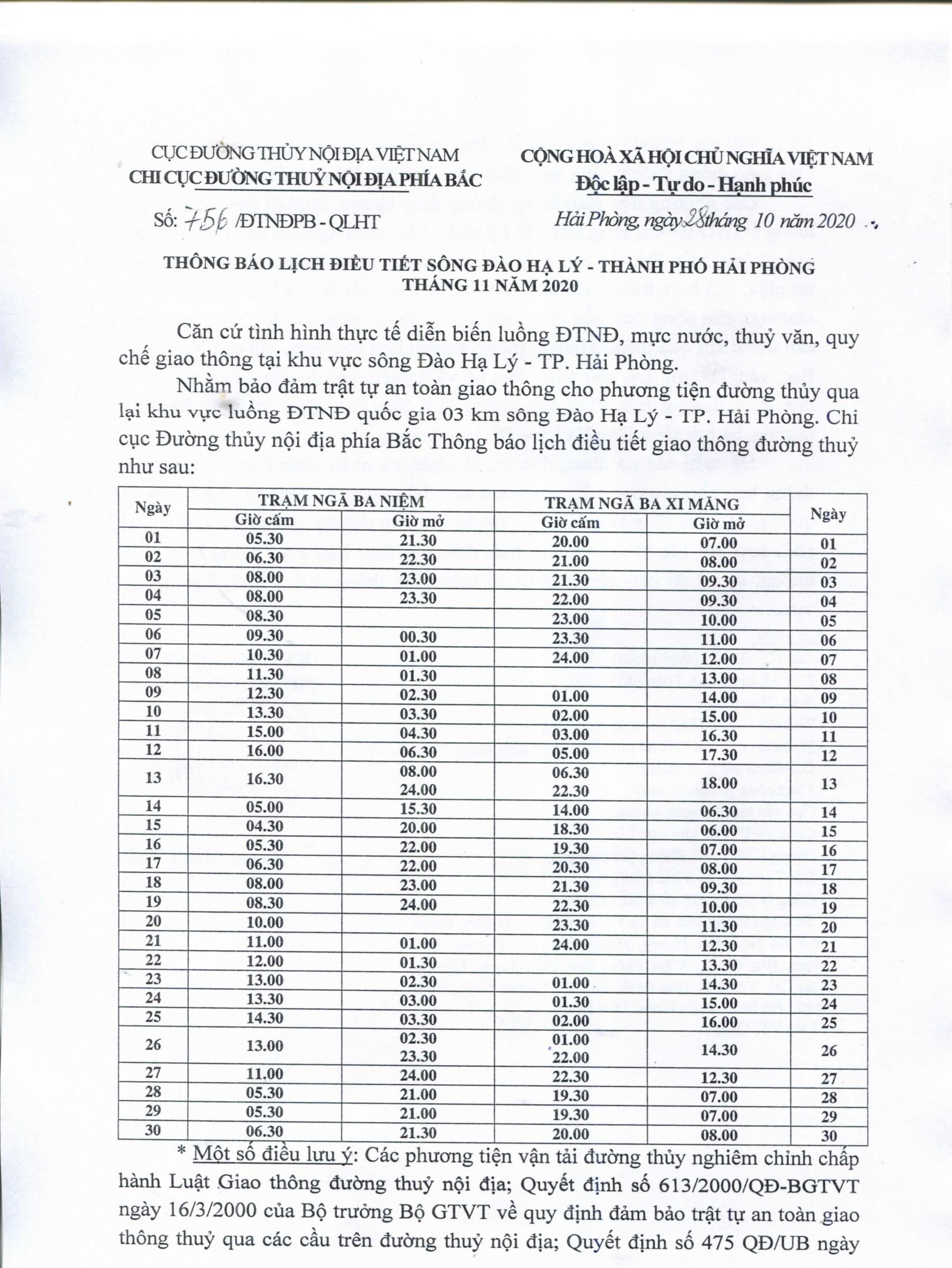 Thông báo lịch điều tiết sông Đào Hạ Lý - TP Hải Phòng tháng 11/2020